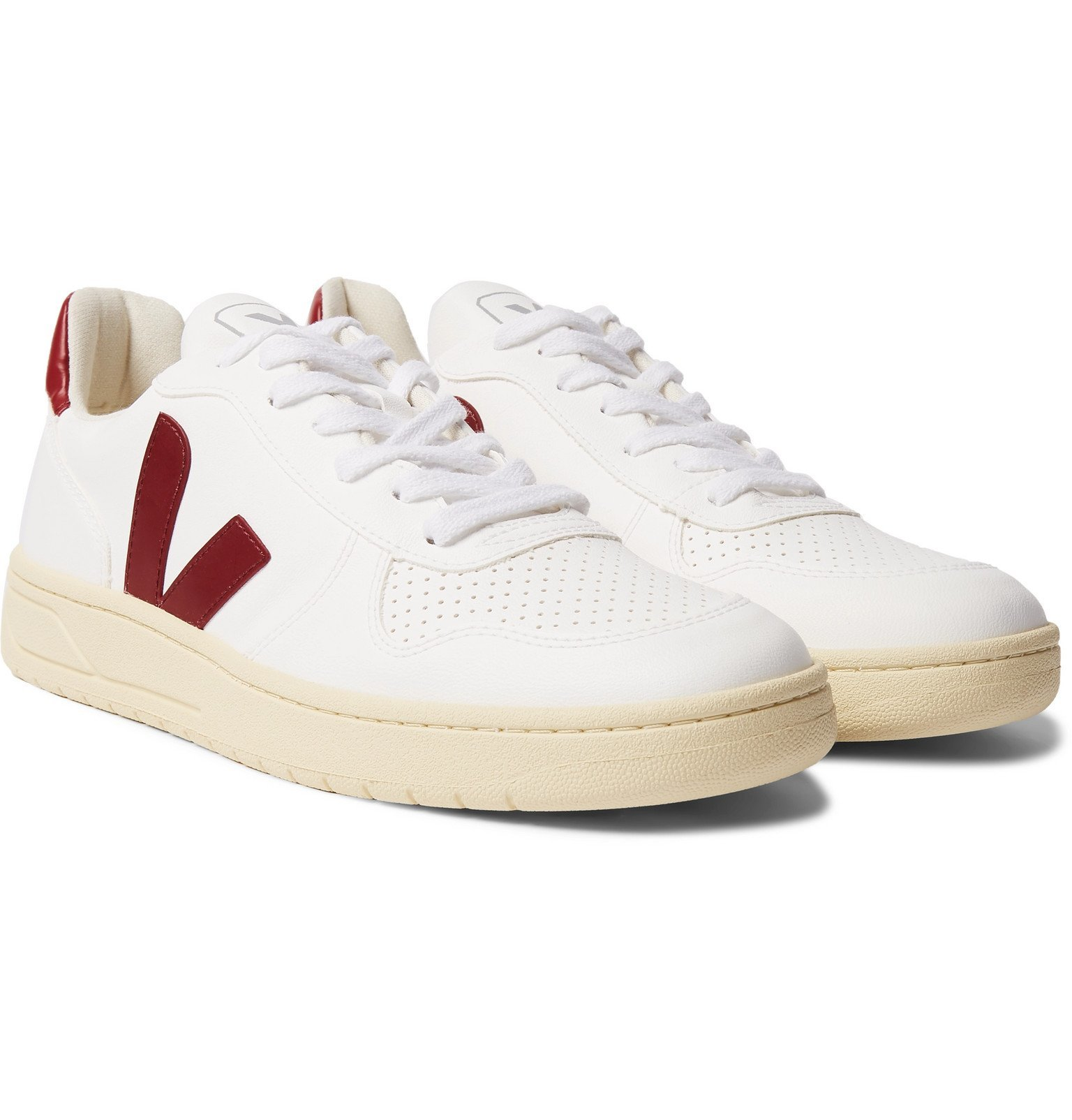 Photo: Veja - V-10 Rubber-Trimmed Faux Leather Sneakers - White