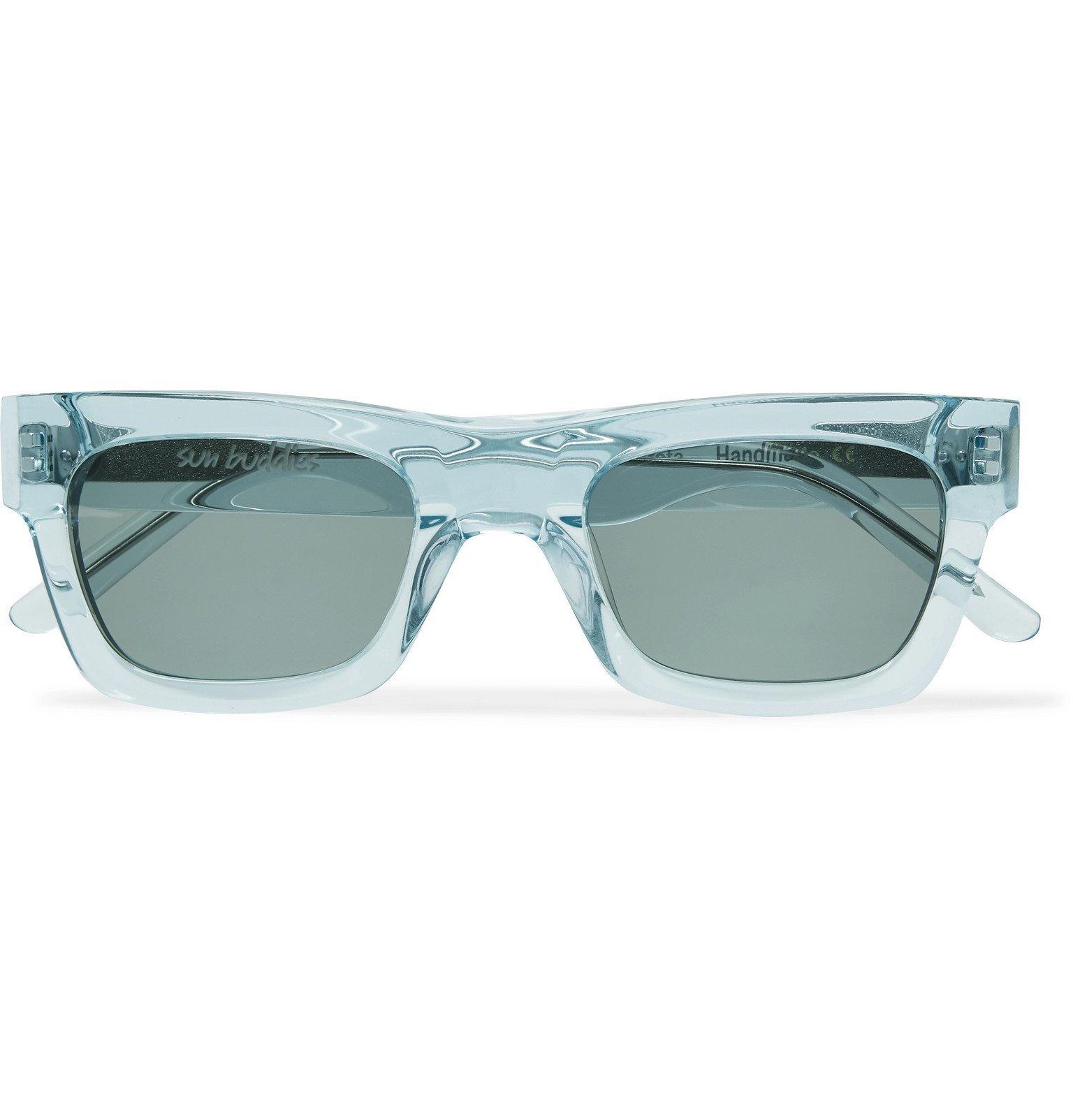 Photo: Sun Buddies - Greta Square-Frame Acetate Sunglasses - Blue