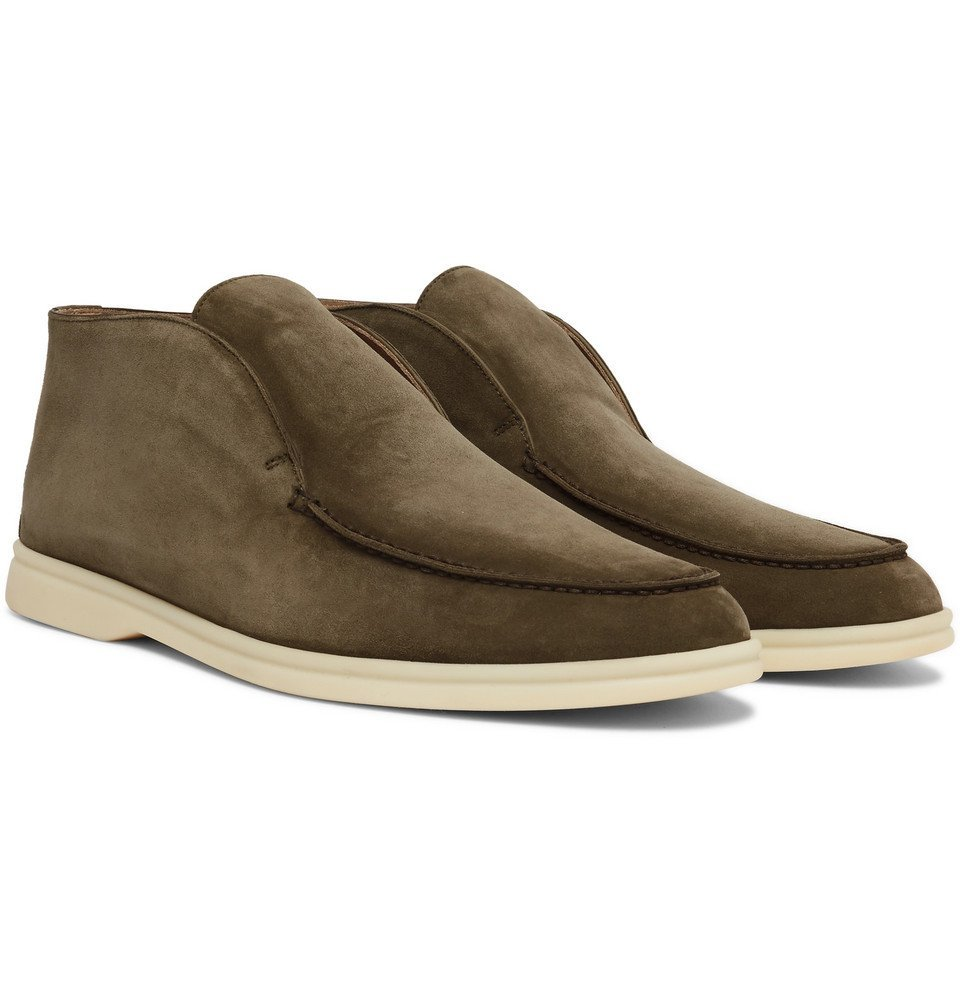 Photo: Loro Piana - Open Walk Suede Boots - Green