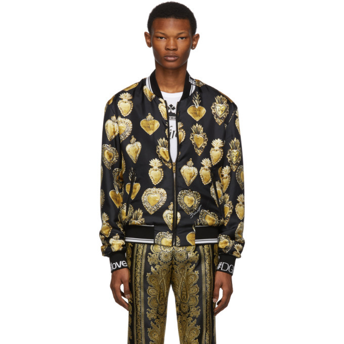 Photo: Dolce and Gabbana Black Silk Sacred Heart Bomber Jacket