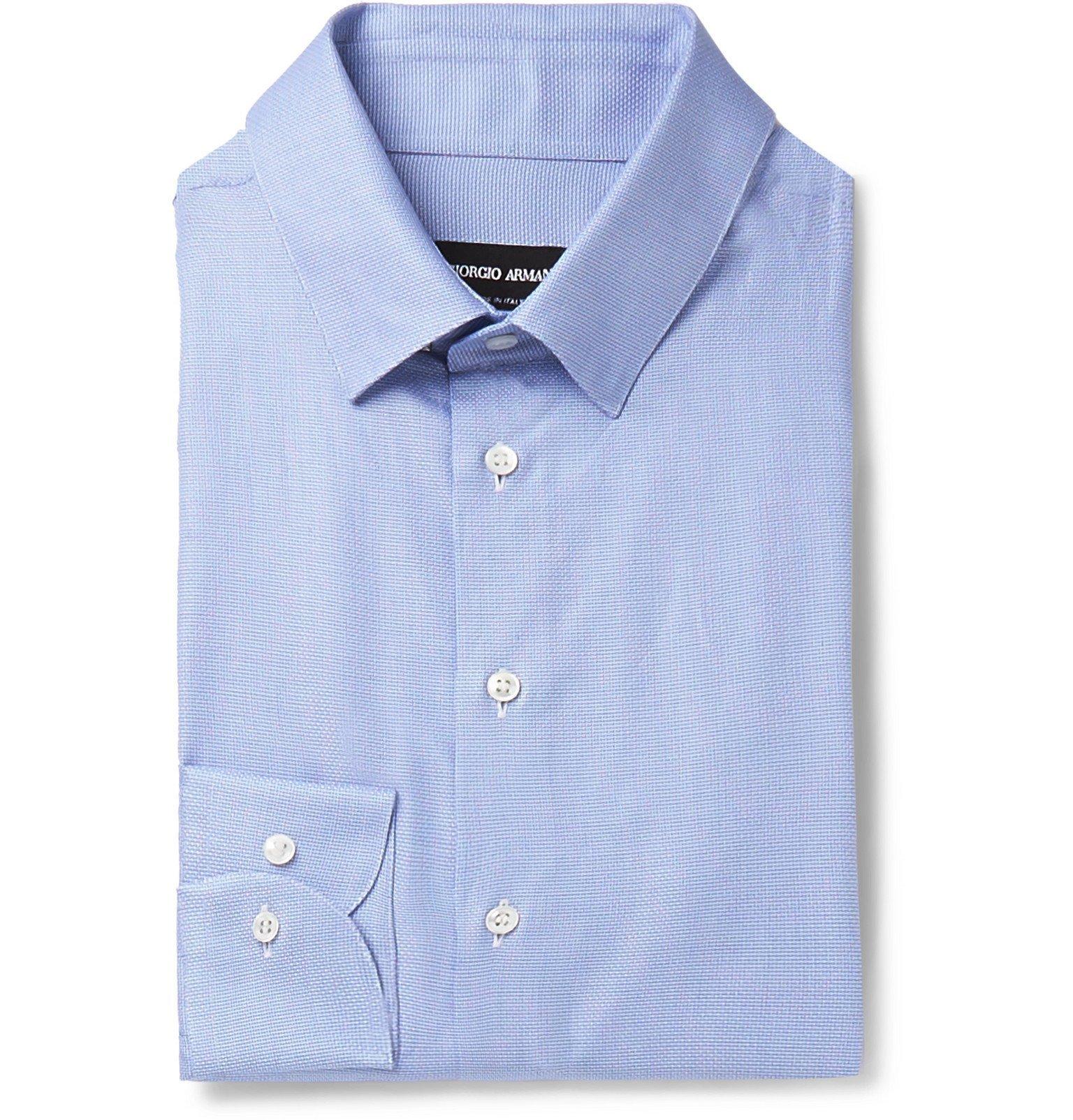 Photo: Giorgio Armani - Blue Checked Cotton Shirt - Blue