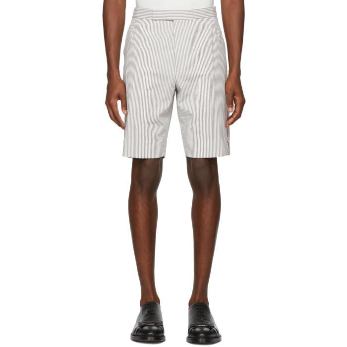 Photo: Thom Browne Grey and White Seersucker Side Zip Backstrap Shorts