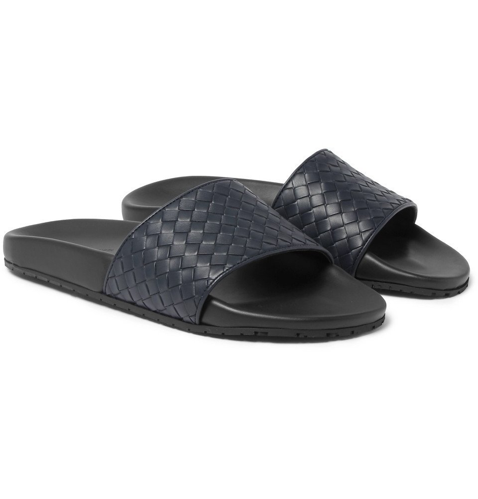 Photo: Bottega Veneta - Intrecciato Leather Slides - Men - Navy
