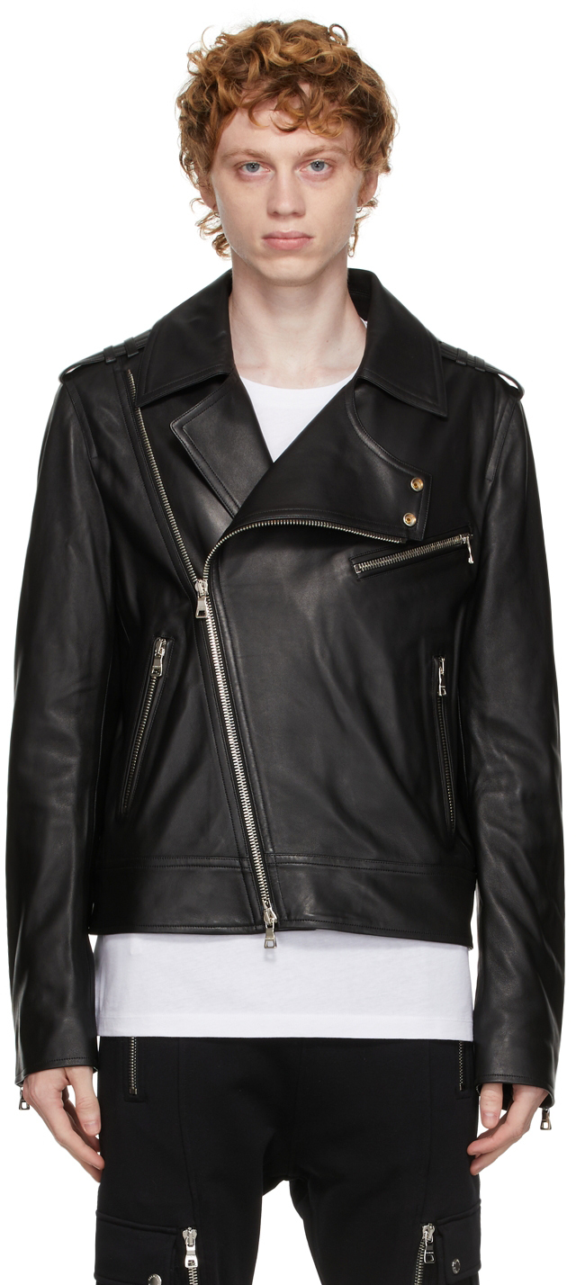 Photo: Balmain Black Leather Biker Jacket