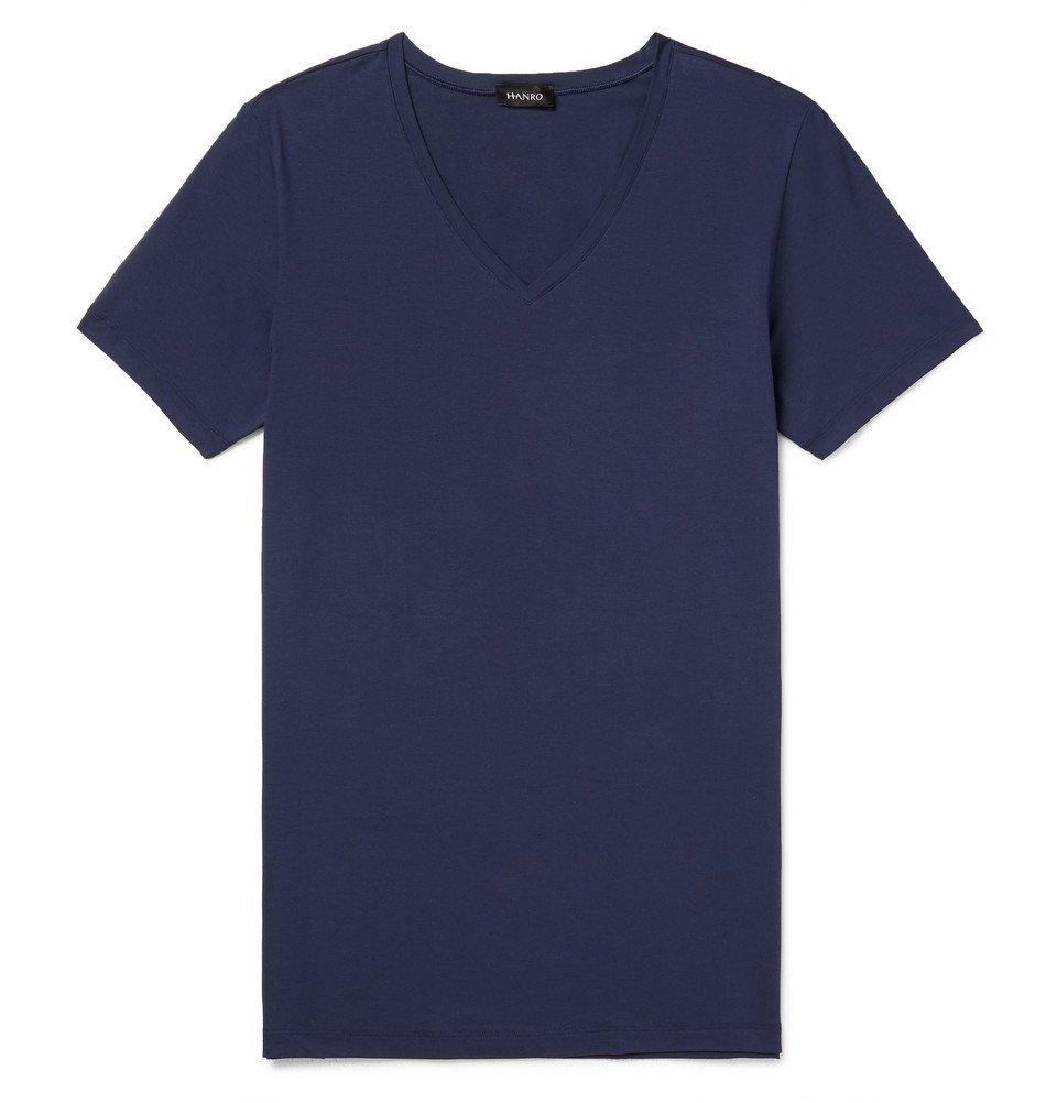 Hanro - Slim-Fit Mercerised Stretch-Cotton Jersey T-Shirt - Navy