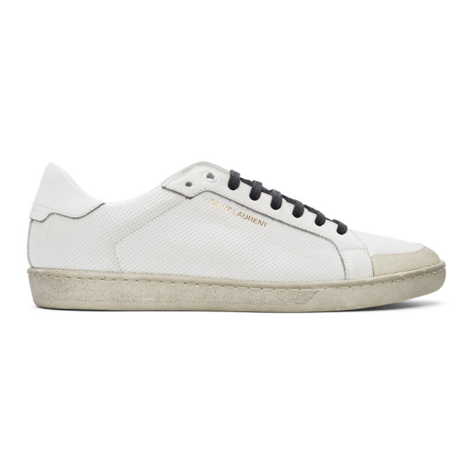 Photo: Saint Laurent White Perforated Court Classic SL/06 Sneakers
