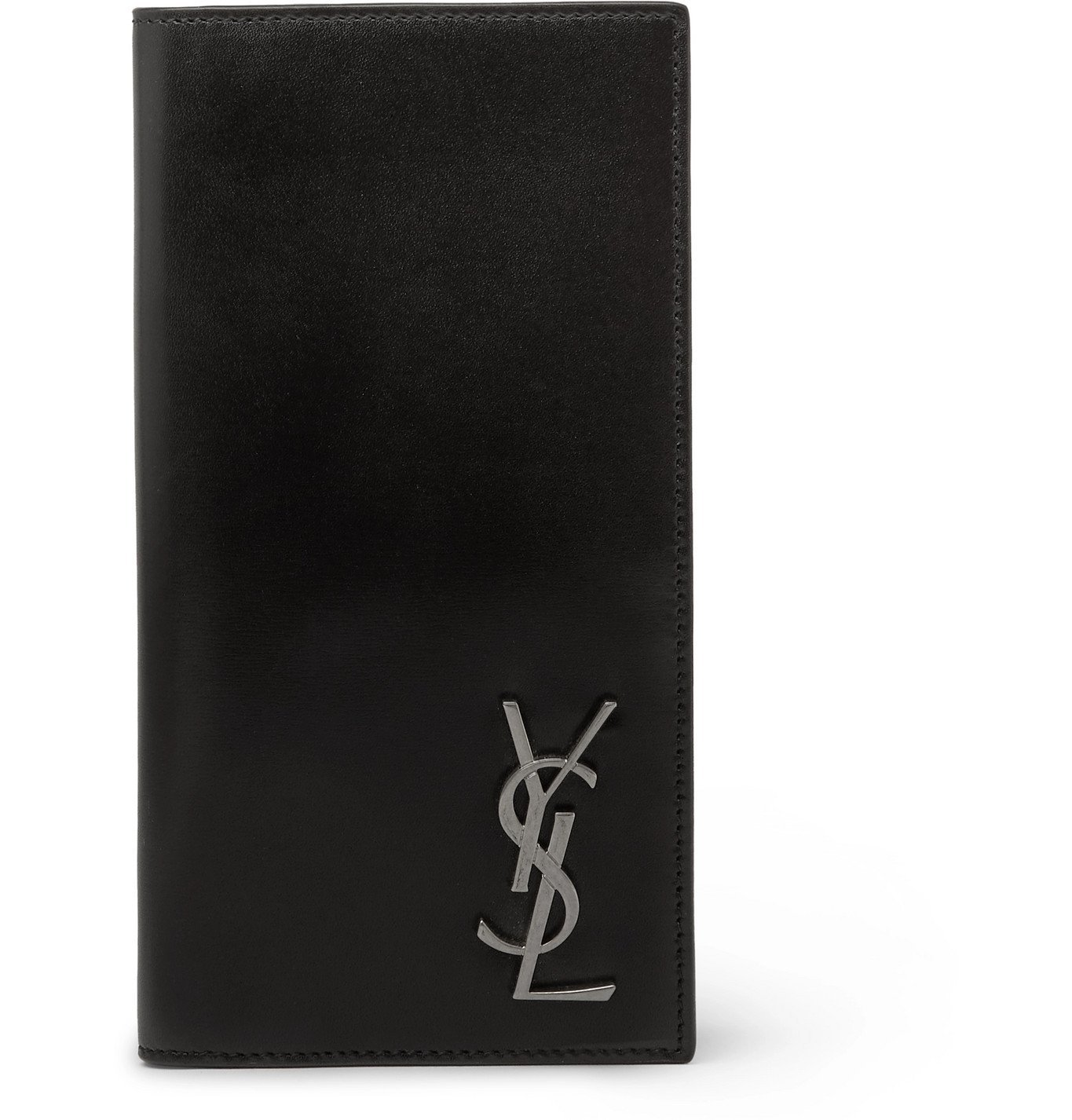Photo: SAINT LAURENT - Logo-Appliquéd Leather Billfold Wallet - Black