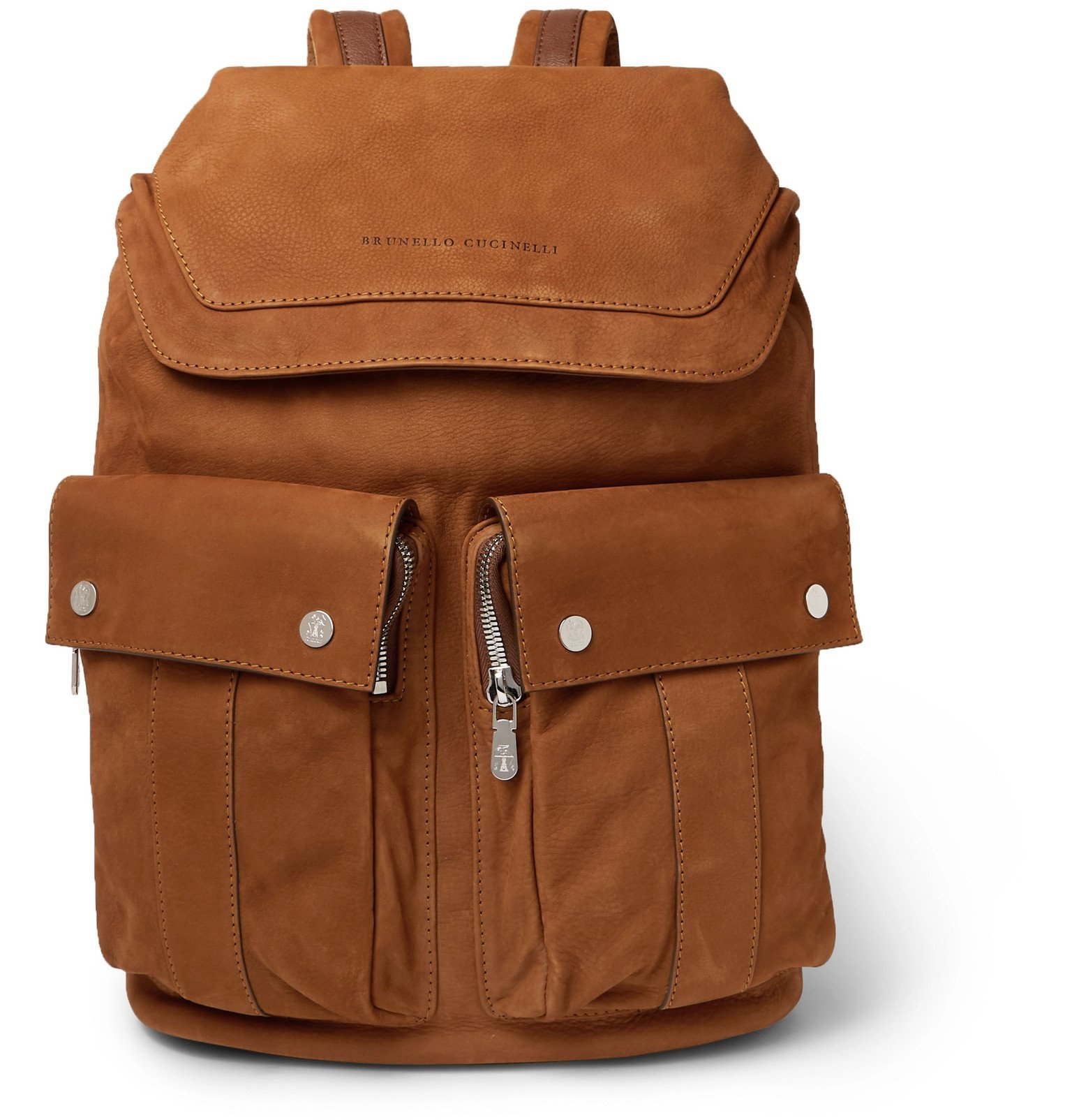 Photo: Brunello Cucinelli - Nubuck Backpack - Brown