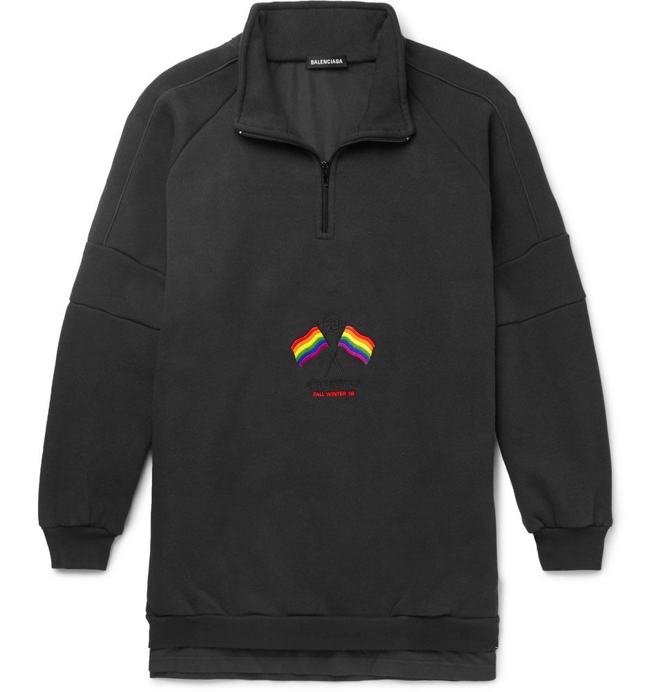 Photo: Balenciaga - Oversized Panelled Embroidered Loopback Cotton-Blend and Jersey Half-Zip Sweatshirt - Charcoal