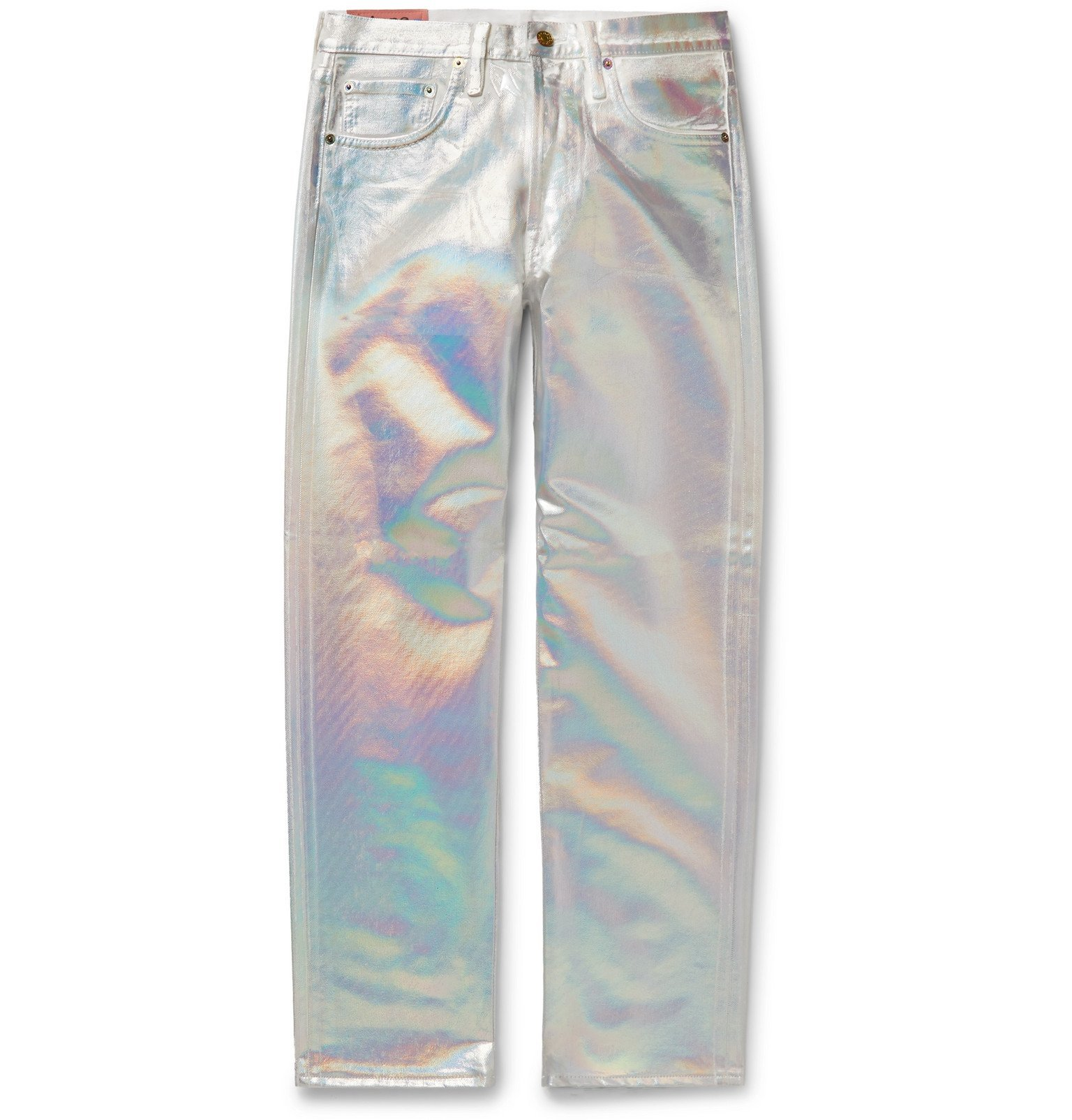Photo: Acne Studios - Slim-Fit Holographic Coated-Denim Jeans - Silver