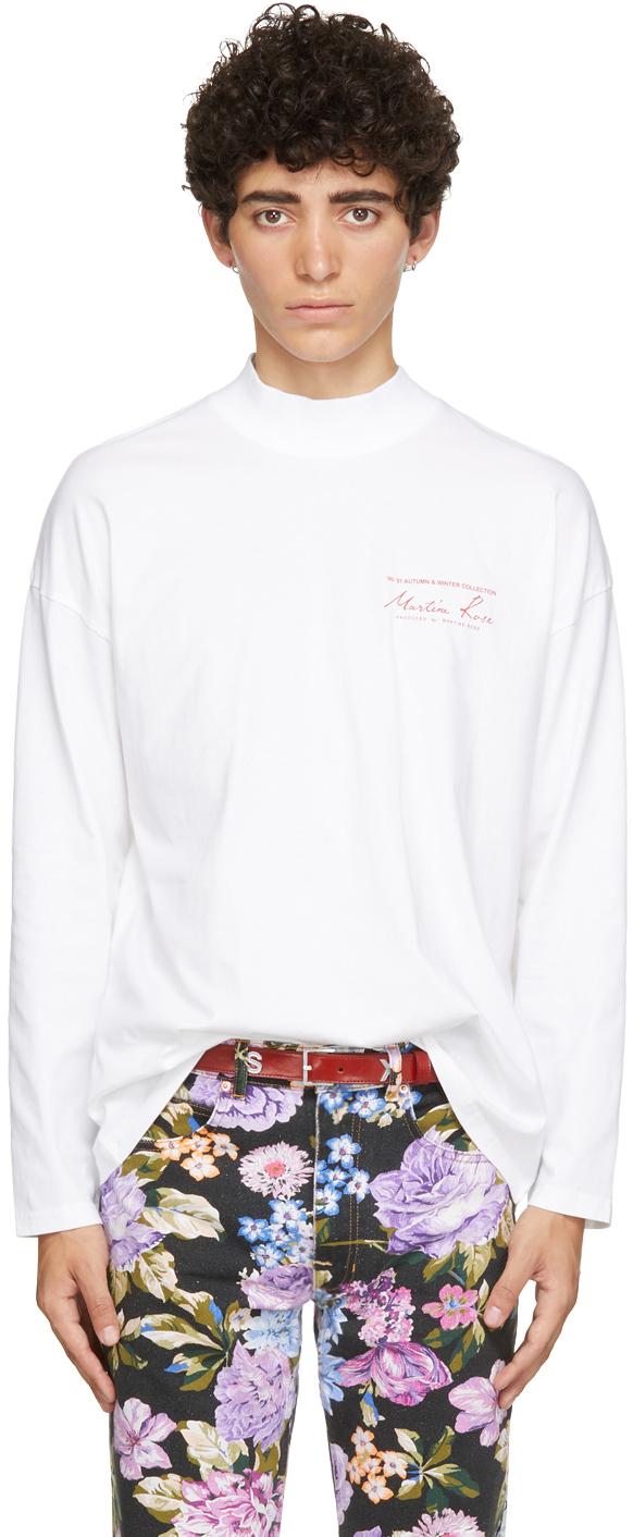 Photo: Martine Rose White Funnel Neck Logo Long Sleeve T-Shirt