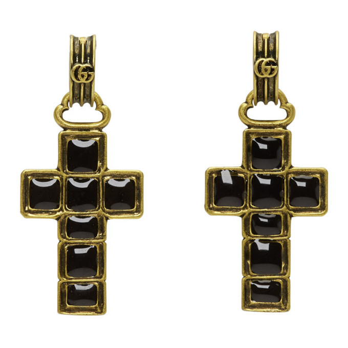 Photo: Gucci Black and Gold Cross Pendant Earrings