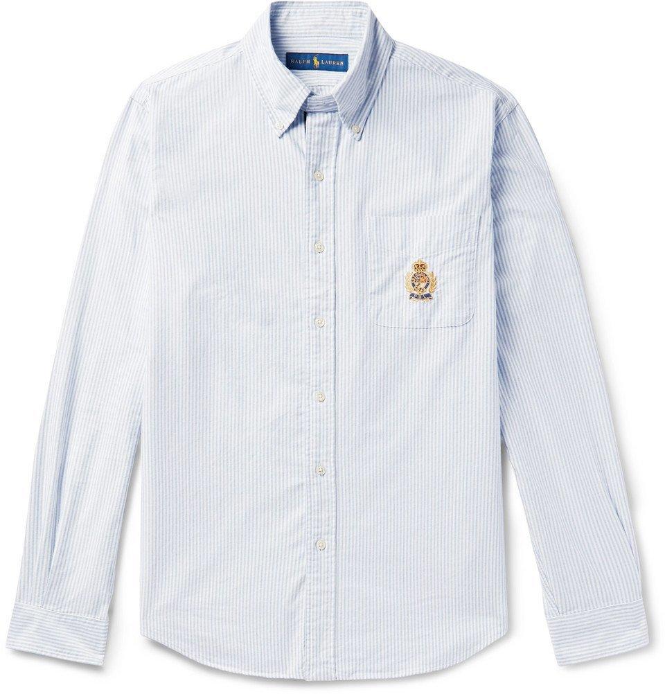 Polo Ralph Lauren Button Down Collar Embroidered Striped Cotton