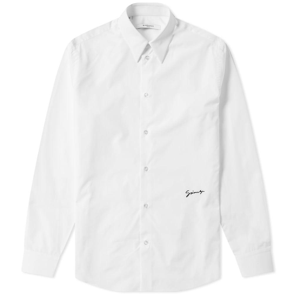 Photo: Givenchy Signature Logo Poplin Shirt White & Black