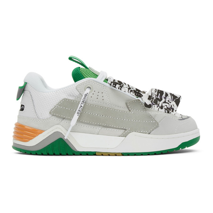 Photo: Off-White Grey and Green Arrow Skate Sneakers