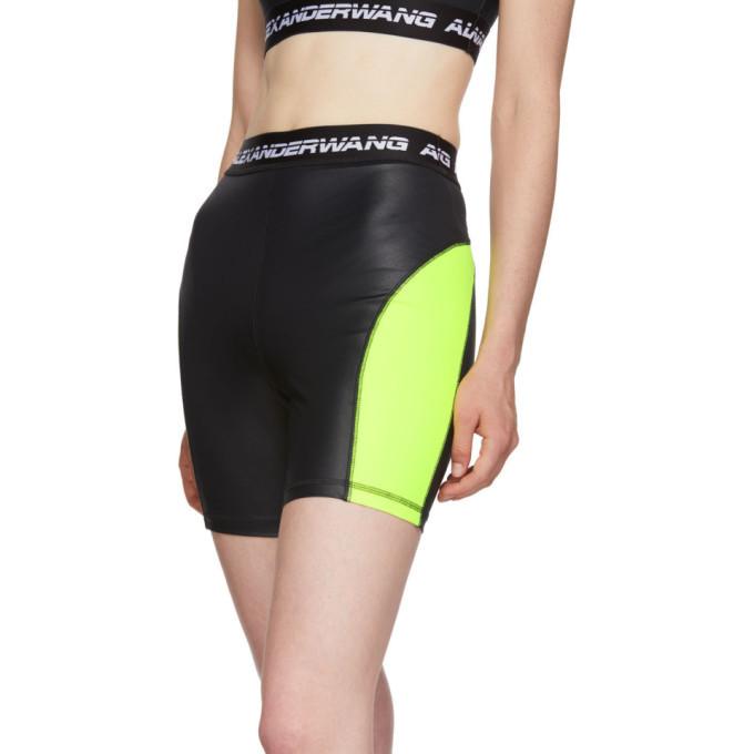 alexanderwang.t Black and Yellow Logo Elastic Wash and Go Biker Shorts