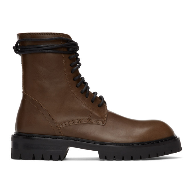 Photo: Ann Demeulemeester Brown Lace-Up Boots