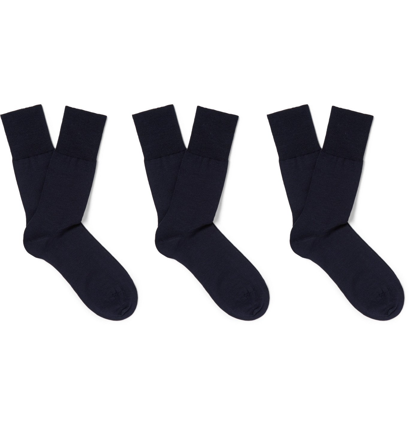 Photo: FALKE - Three-Pack Airport Stretch Wool-Blend Socks - Blue