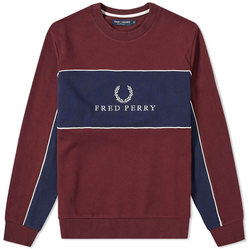 Photo: Fred Perry Panel Piped Sweat Mahogany
