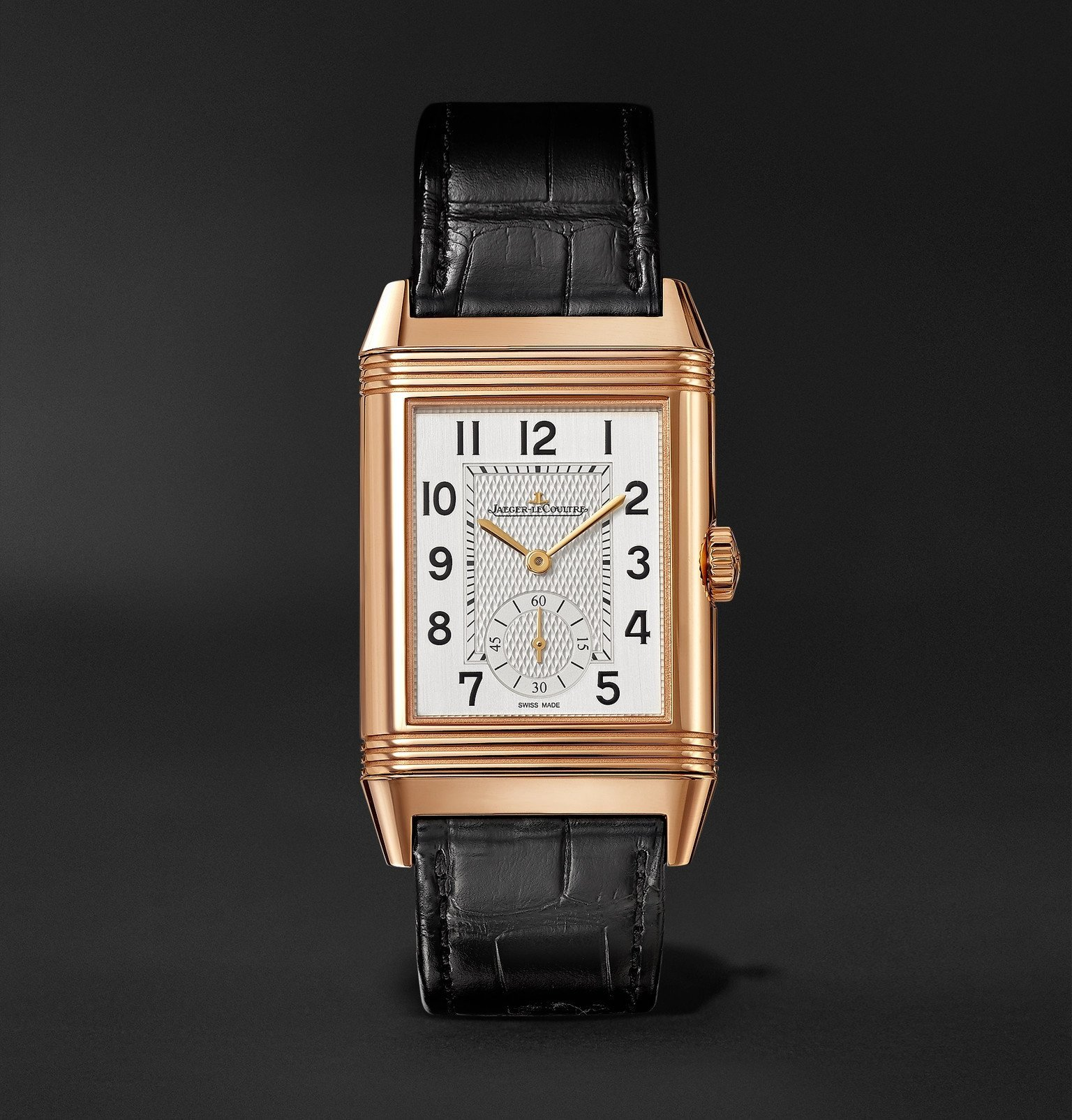 Photo: Jaeger-LeCoultre - Reverso Classic Large Duoface Small Seconds Automatic 28.3mm 18-Karat Rose Gold and Alligator Watch - White