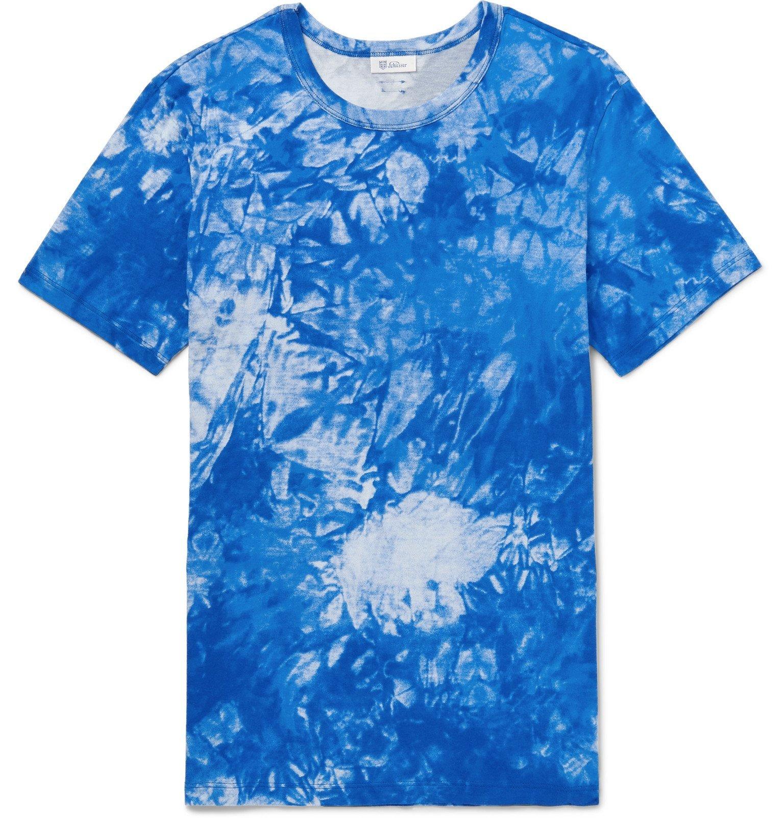 Schiesser - Georg Tie-Dyed Cotton-Jersey T-Shirt - Blue