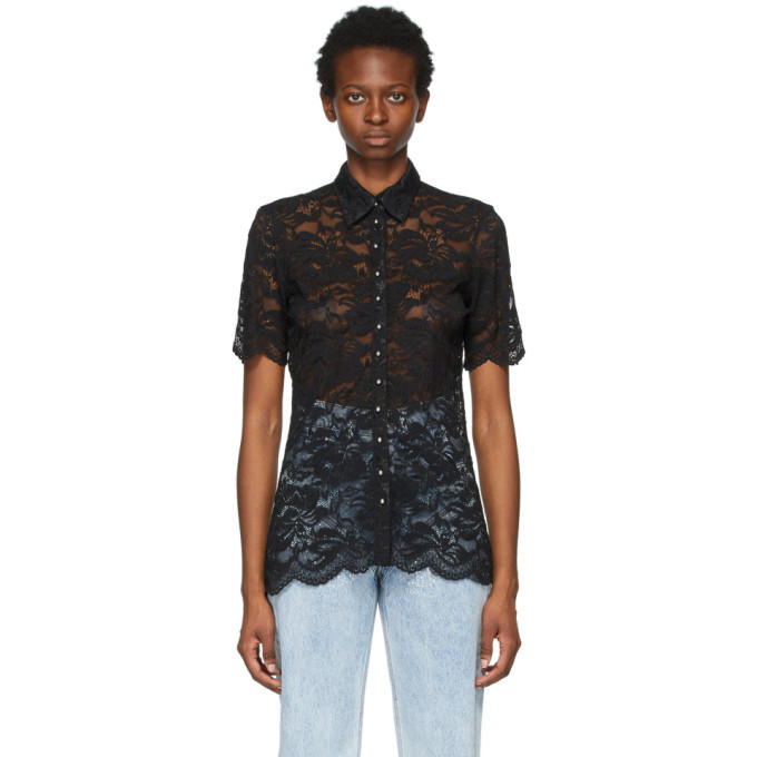 Photo: Paco Rabanne Black Lace Short Sleeve Shirt