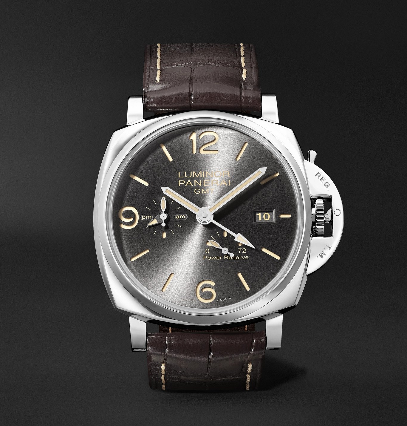 Photo: Panerai - Luminor Due GMT Automatic 45mm Stainless Steel and Alligator Watch, Ref. No. PAM00944 - Gray