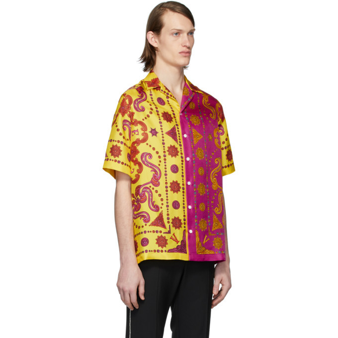 Versace Yellow and Pink Silk Barocco Western Shirt