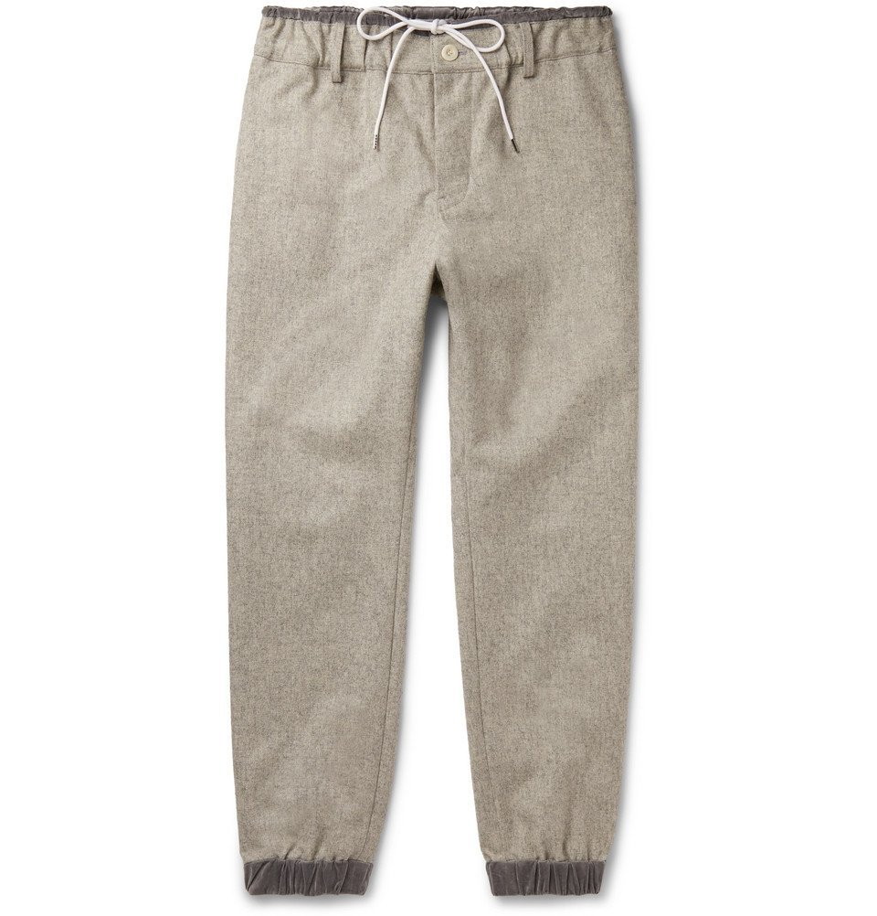 Sacai - Slim-Fit Tapered Mélange Melton Wool-Blend Trousers - Stone