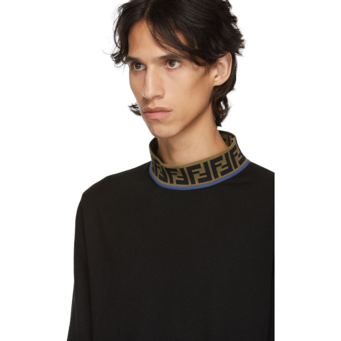 Fendi Navy Forever Fendi Mock Neck T-Shirt