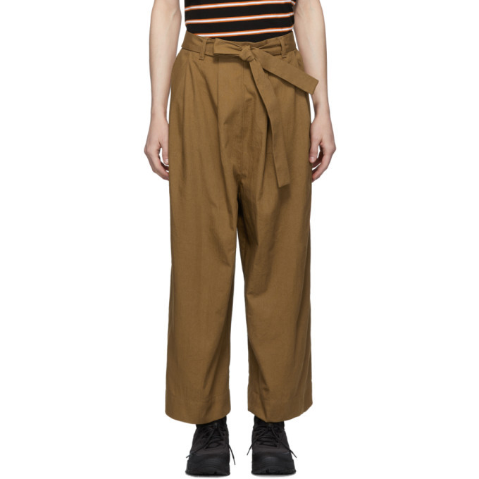 Photo: Naked and Famous Denim SSENSE Exclusive Tan Wide Trousers