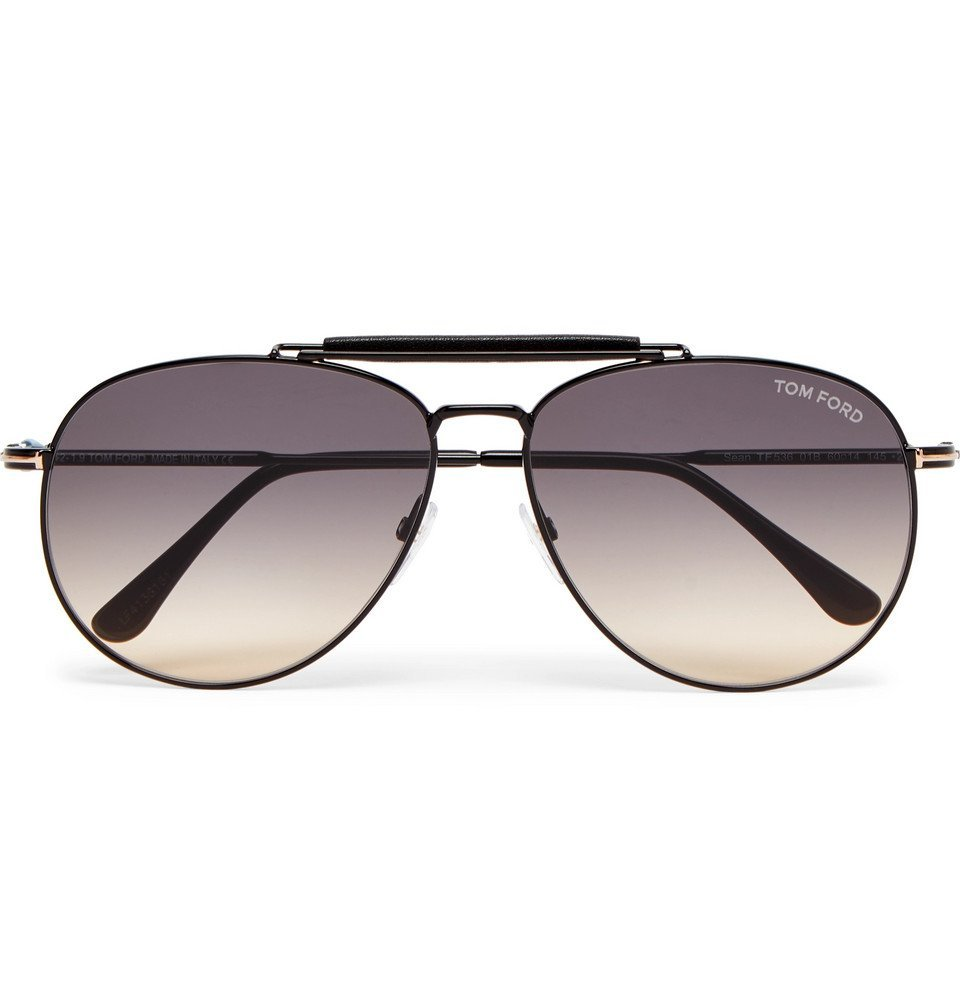 Photo: TOM FORD - Aviator-Style Leather-Trimmed Gunmetal-Tone Sunglasses - Gunmetal