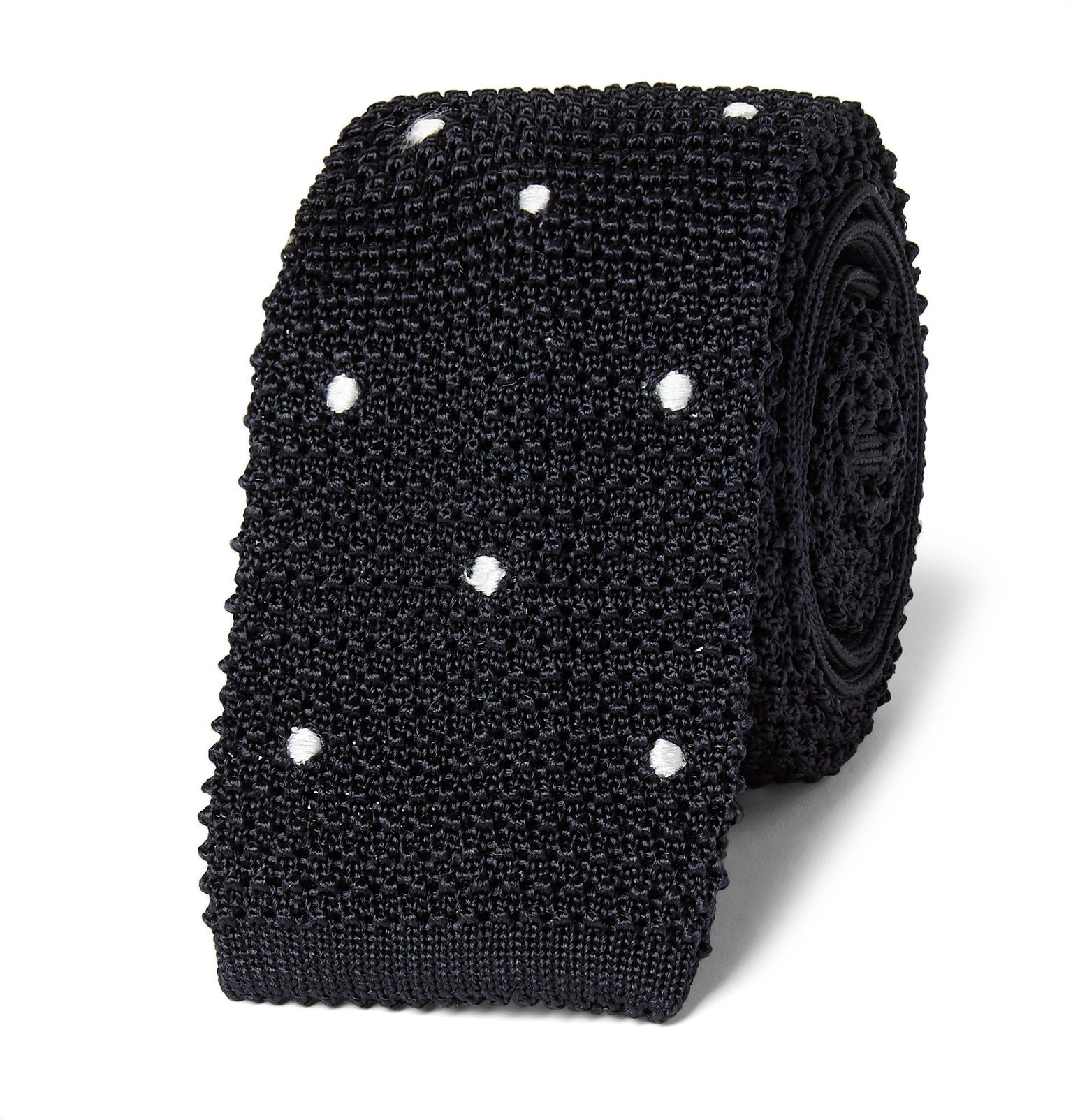 Photo: Canali - 6cm Polka-Dot Knitted Silk Tie - Blue
