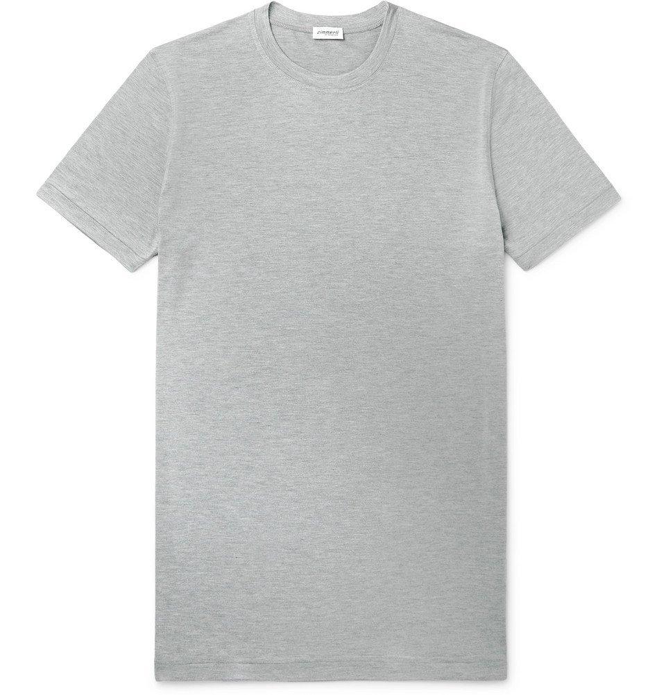 Photo: Zimmerli - Slim-Fit Mélange Modal-Blend Jersey T-Shirt - Gray