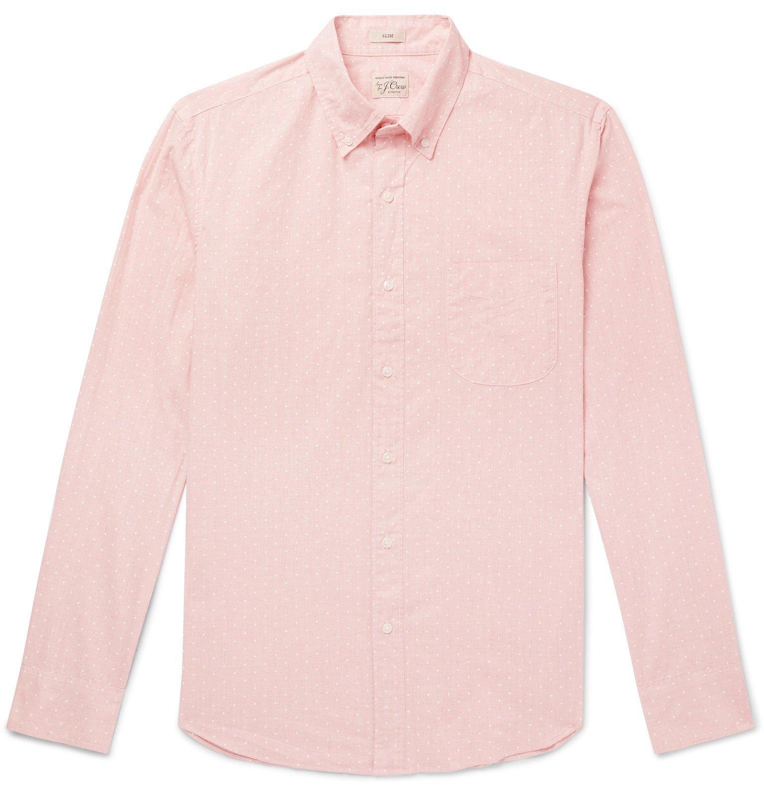 Photo: J.Crew - Button-Down Collar Polka-Dot Cotton-Blend Shirt - Pink
