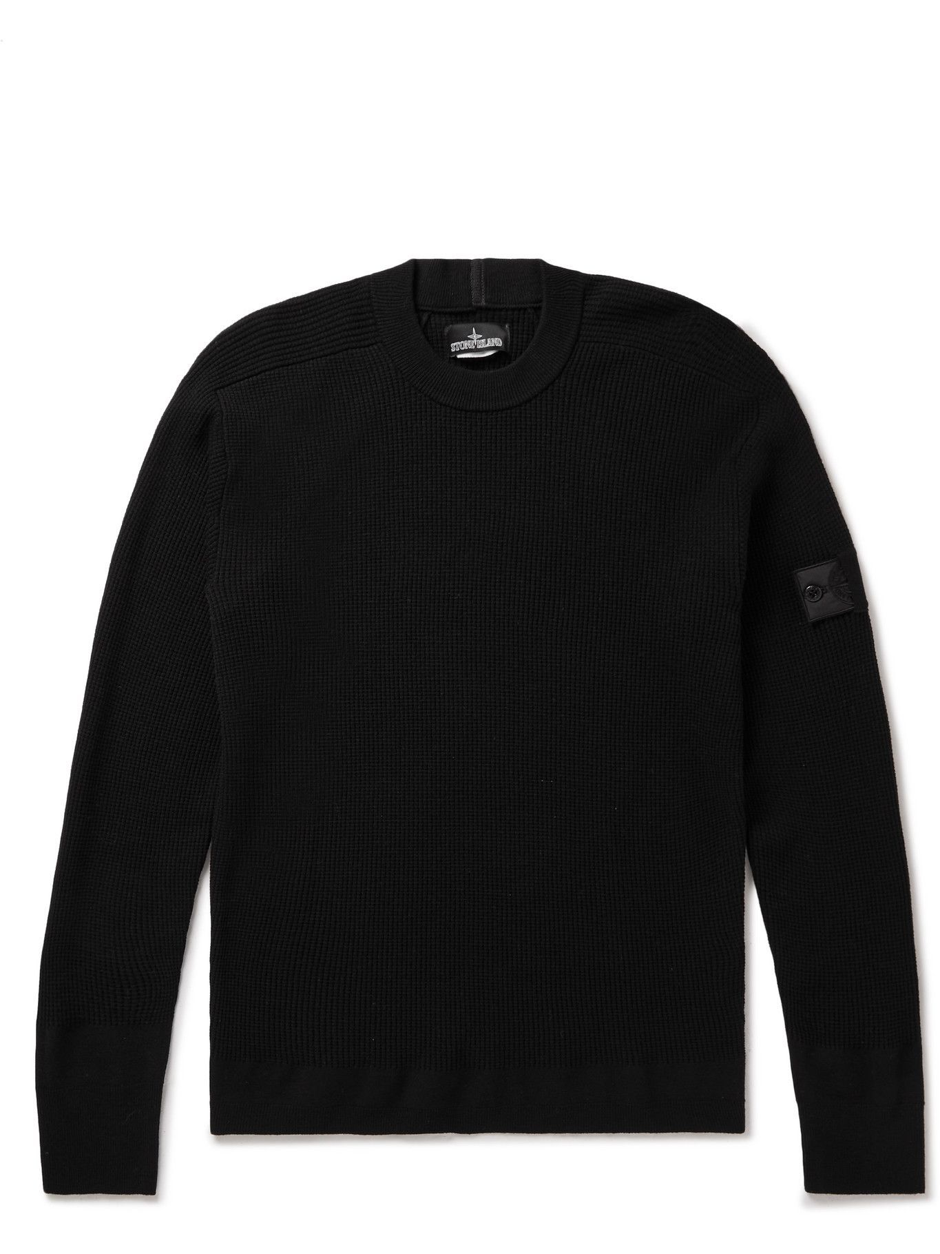 Photo: Stone Island Shadow Project - Logo-Appliquéd Cable-Knit Wool-Blend Sweater - Black