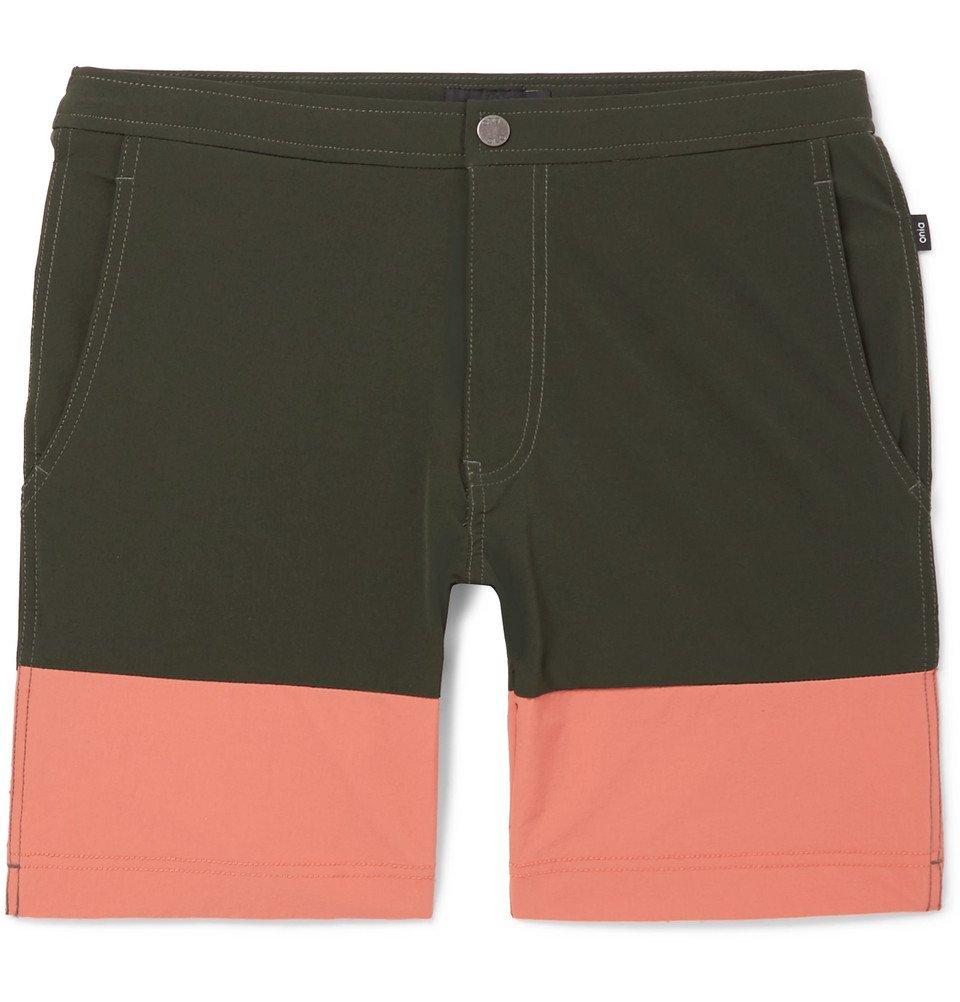 Photo: Onia - Calder Long-Length Colour-Block Swim Shorts - Men - Army green