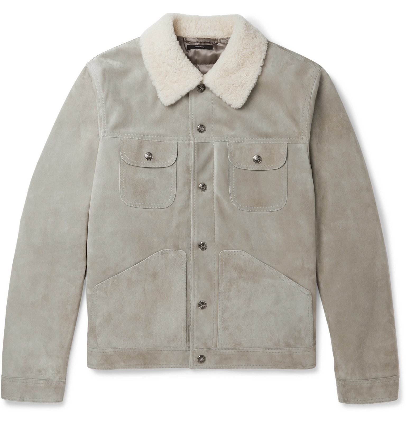 Photo: TOM FORD - Shearling-Trimmed Suede Jacket - Gray