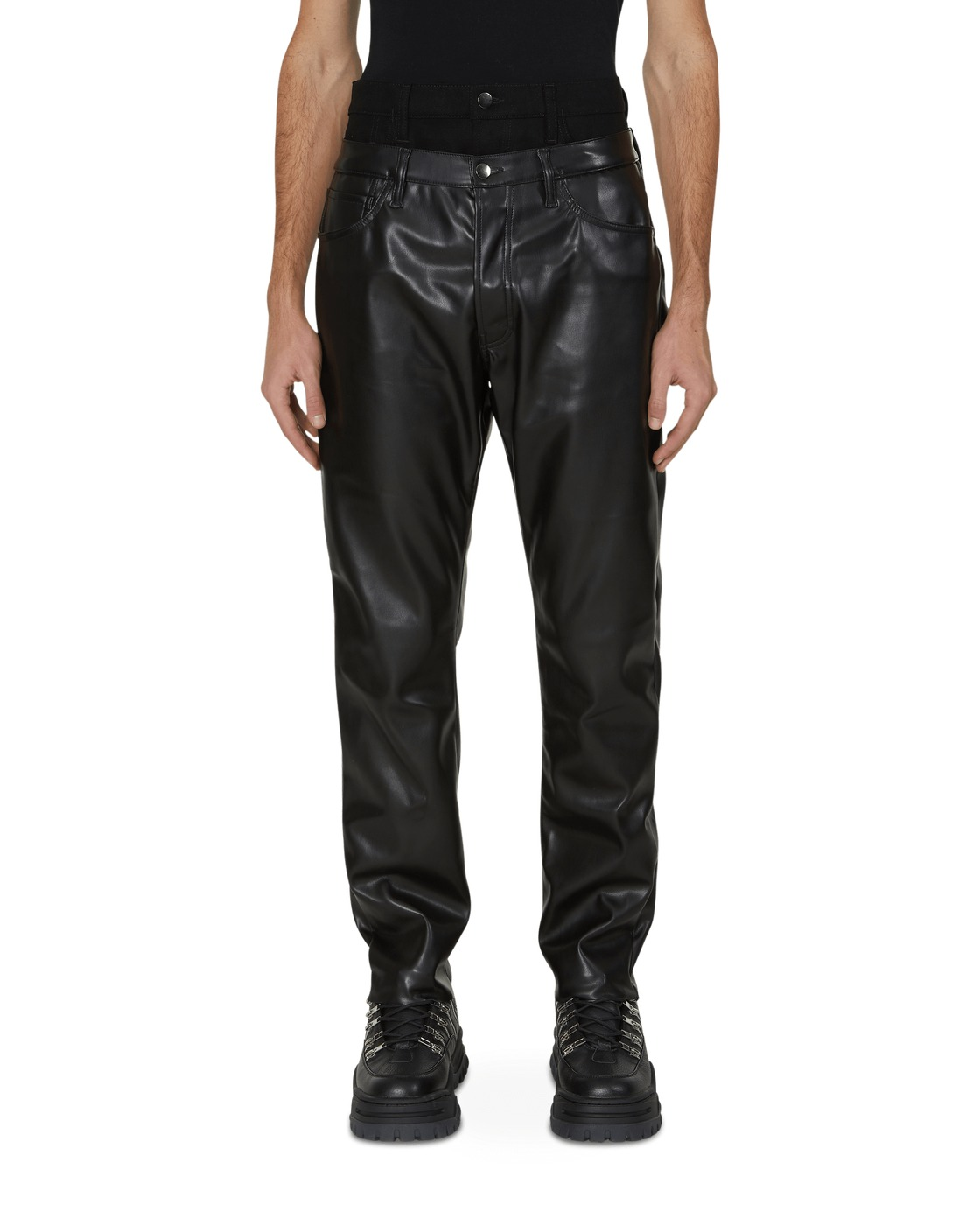 Aries Double Waisted Faux Leather Jeans Black