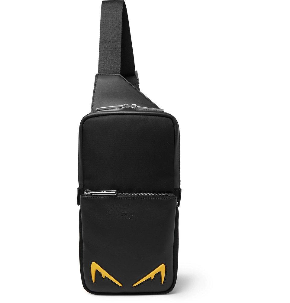 Photo: Fendi - Appliquéd Mesh-Trimmed Leather Messenger Bag - Black