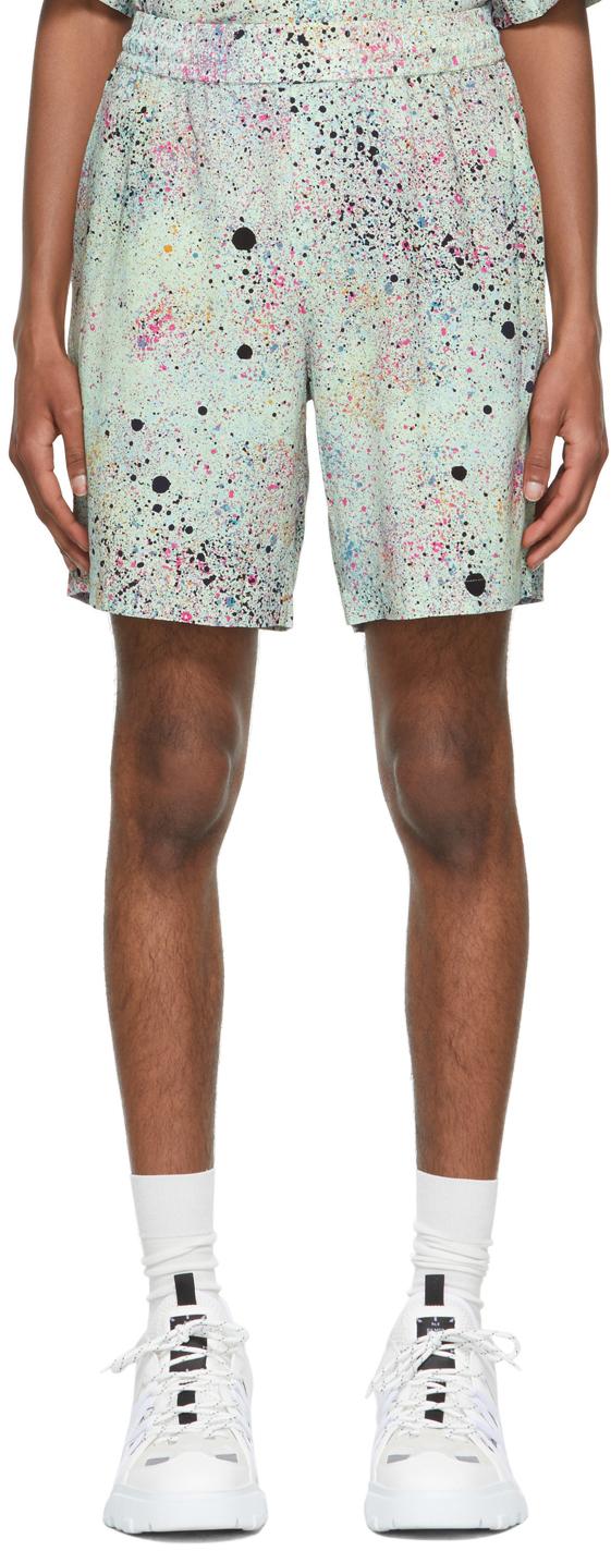 MCQ Green Paint Splatter Shorts