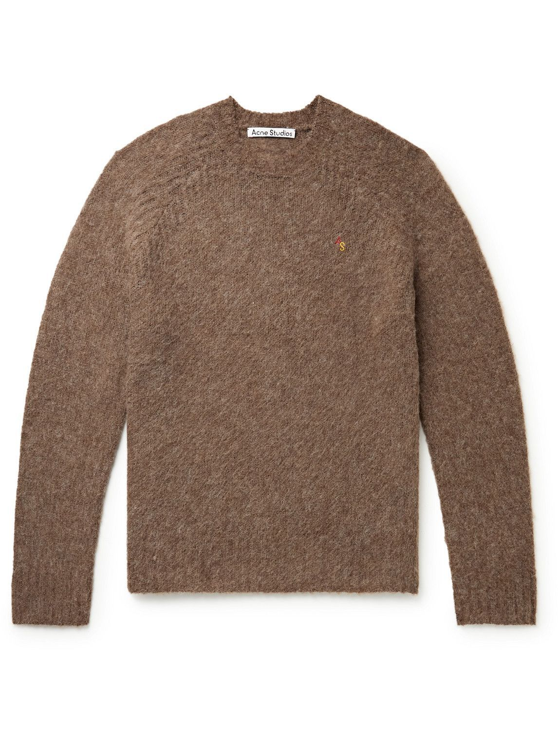 Photo: Acne Studios - Logo-Embroidered Shetland Wool Sweater - Brown