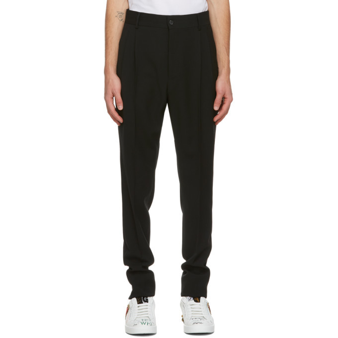 Photo: Dolce and Gabbana Black Wool Pleated Trousers