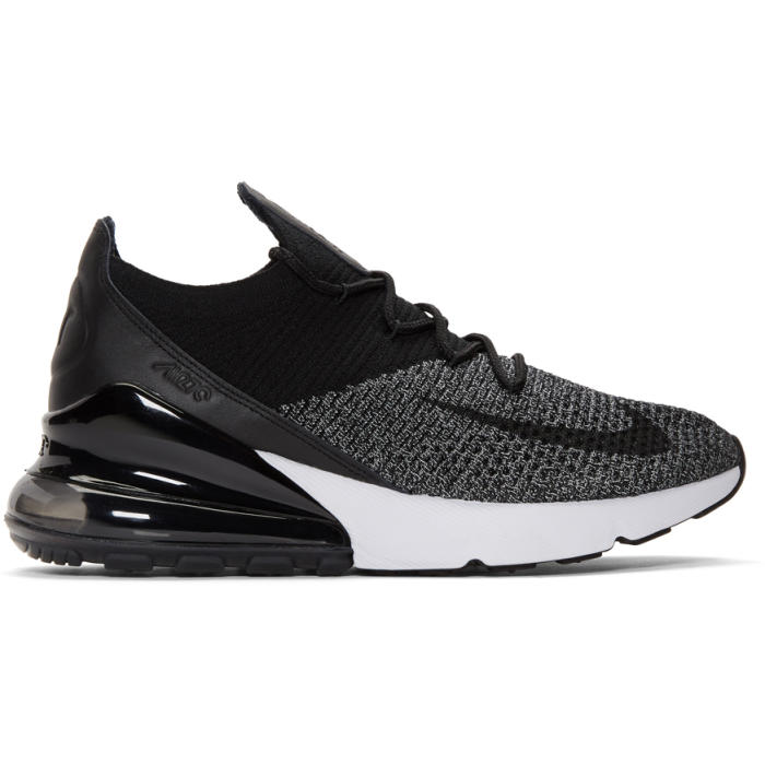 Photo: Nike Black and White Air Max 270 Flyknit Sneakers