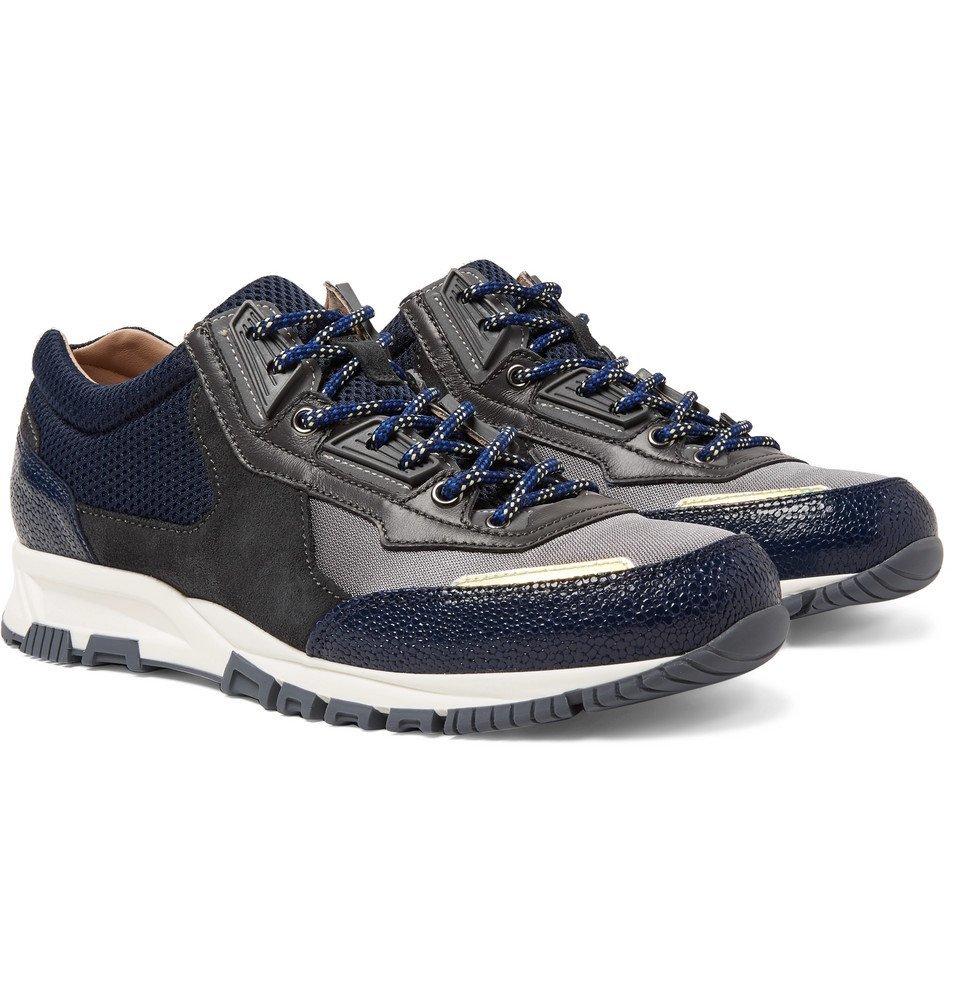 billig rabat salg populære butikker Lanvin - Mesh, Suede and Textured-Leather Sneakers - Men - Navy