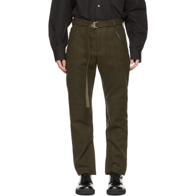 Photo: Sacai Khaki Wool Belted Trousers