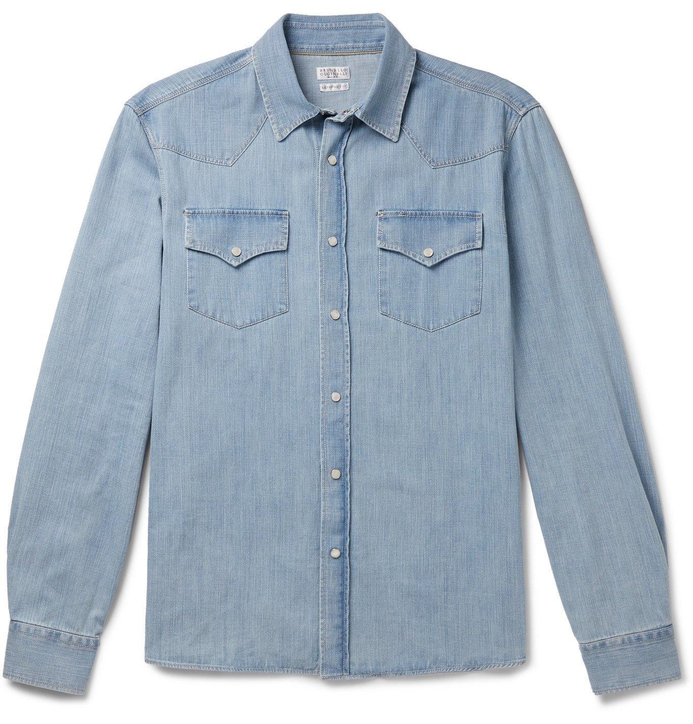 Photo: Brunello Cucinelli - Slim-Fit Denim Western Shirt - Blue