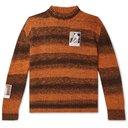 Raf Simons - Oversized Appliquéd Striped Knitted Sweater - Orange