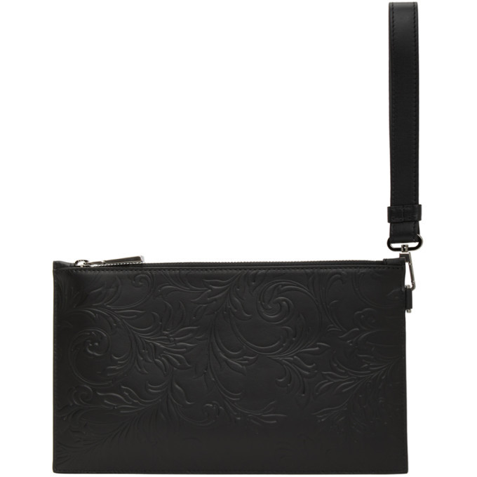Versace Black Leather Barocco Pouch
