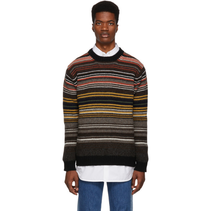 Photo: Junya Watanabe Brown Horizontal Stripes Sweater